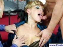 Glam euro piss lover showered with urine