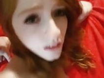 Red head fuck then facial from big cock