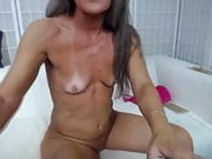 Fun grey haired mature Leilani bangs cunt and gets cream