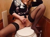 Russian girl in stocking fuck in toilet