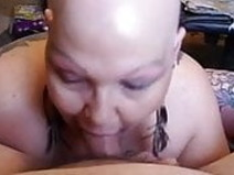 58 Year Old Tattood Bald BBW Sucks My Cock, Cum On Tits!